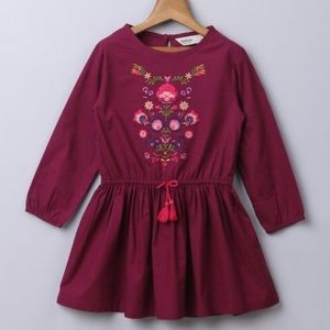 Maroon Floral Embroidered Dress